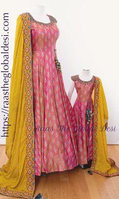 - kids dresses – Raas The Global Desi Source by harrypotterdiehardfan - Indian Gowns Dresses, Indian Fashion Dresses, Indian Designer Outfits, Indian Dresses For Kids, Indian Clothes, Fashion Outfits, Long Gown Dress, Mom Dress, Sari Dress
