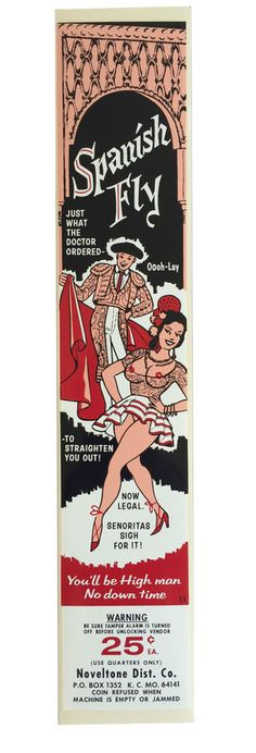 vtg condom machine decal vending novelty NOS water transfer Spanish Fly Pinup