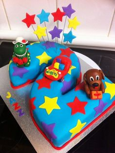 The Wiggles Cake Wiggles Birthday, Wiggles Party, Leo Birthday, Second Birthday Ideas, 2 Birthday Cake, 2nd Birthday Parties, Wiggles Cake, The Wiggles, Number 2 Cakes