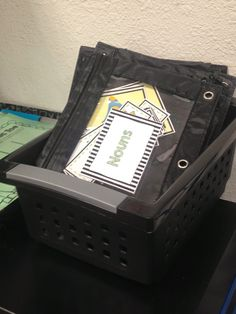 Organizing literacy centers in pencil pouches. Space saver!
