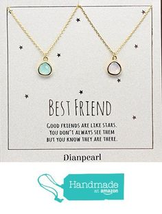 light pink and aqua crystal necklace, Best friends necklace for 2, BFF Necklace, friendship necklace for 2, Gold dainty necklace, gemstone necklace, tiny crystal, from DIANPEARL https://www.amazon.com/dp/B06WP46Q2F/ref=hnd_sw_r_pi_dp_c802ybN75VTJM #handmadeatamazon