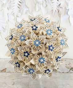 Paper Flower wedding bouquet origami kusudama pear blue book