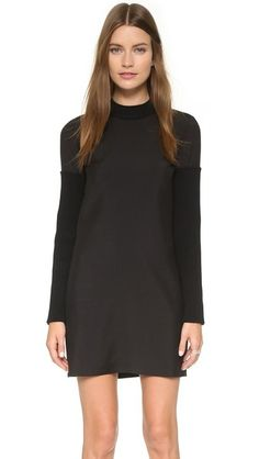Vera Wang Collection Shift Dress with Knit Sleeves