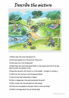 Describing a Picture worksheet - Free ESL printable worksheets made by teachers English Teaching Materials, Learning English For Kids, Teaching English Grammar, English Worksheets For Kids, Kids English, English Writing Skills, English Activities, English Language Learning, English Lessons