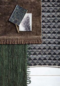 Nordal Vloerkleed Leer/Katoen Pine Green - 90 x 60 cm