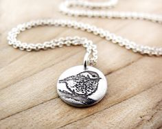 Tiny Chickadee necklace - bird - silver $28