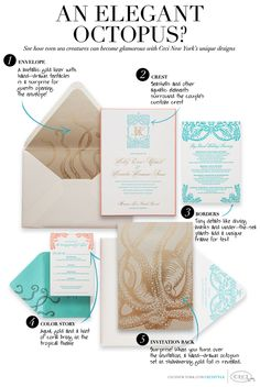 Under the Sea...An Elegant Octopus? See how even sea creatures can become glamorous with Ceci New York's unique designs. 1. Envelope: A metallic gold liner w...