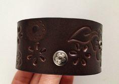 Brown Cuff Bracelet  Womens Flower Studded by ChristyKeysCreations, $12.00