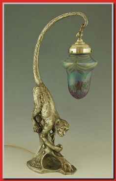 Art Nouveau Silvered Table Lamp with Monkey and Loetz Glass Art Nouveau Silvered Table Lamp with Mon