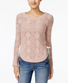 American Rag Lace-Up Diamond-Stitch Sweater, Only at Macy's
