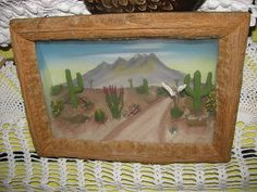 1950s hand made diorama Cactus Cacti Shadow Box by TeaRoseCottage2