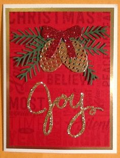 Joy card with pine and pinecones