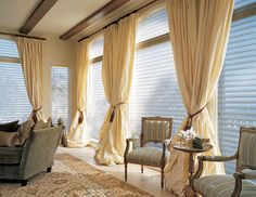 Luxurious cabana feel with curtains for enclosed porch.