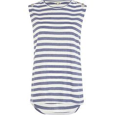 BLUE AND WHITE STRIPE EMBELLISHED TANK TOP - River Island price: £20.00