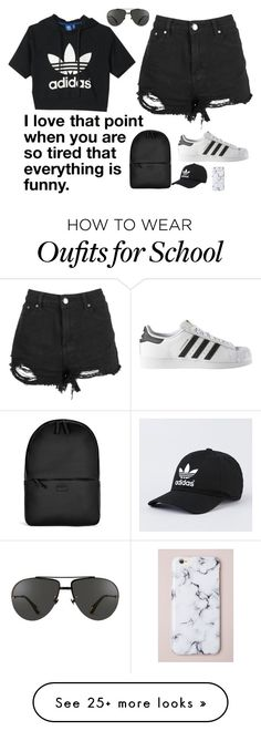"""""""GOT ONE OF MY FINALS DONE AT SCHOOL"""" by parrypie7 on Polyvore featuring adidas, Rains and Linda Farrow"""