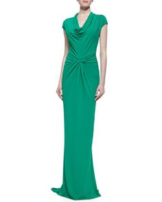 Draped Matte Jersey Gown, Emerald  by Michael Kors at Neiman Marcus.