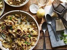 Slow-cooked leek pappardelle with crispy white beans and lemon | Life and style | The Guardian