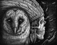 Print Barn Owl Skull Native American by TheDaytimeHeroes Detailed Tattoo, Canvas Art, Canvas Prints, India Ink, Ink Illustrations, Canvas Material, Cool Tattoos, Lion Sculpture, Fine Art