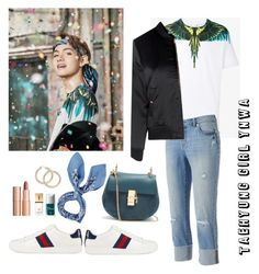 """""""Taehyung Girl YNWA"""" by awakewithu on Polyvore featuring Jennifer Lopez, Glamorous, Gucci, Manipuri, Chloé, Charlotte Tilbury, Christian Dior and Yves Saint Laurent"""