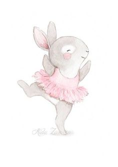 "Nursery Art ""BUNNY BALLERINA"" Art Print for girls, Pink Illustration, Nursery ballerina art, Ballerinas print, Baby girl wall art Bunny Nursery, Nursery Art, Scrapbooking Image, Image Deco, Bunny Birthday, Bunny Art, Cute Illustration, Cute Drawings, Cute Art"