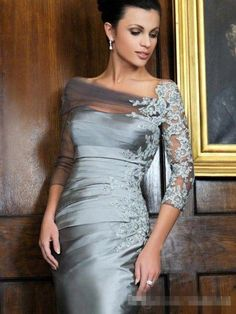 2015 distinctive silver knee length sheath mother of the bride dresses off shoulder lace long sleeves short evening gowns mothers dresses for a wedding Mob Dresses, Trendy Dresses, Bridesmaid Dresses, Formal Dresses, Peplum Dresses, Wrap Dresses, Mother Of Groom Dresses, Mothers Dresses, Mother Of The Bride Dresses Knee Length