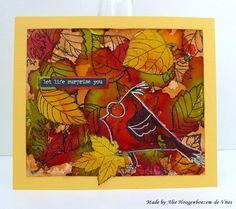 Crazy Birds Tim Holtz and Judi Kins leaves on an Alcohol Ink background, card made by Alie Hoogenboezem-de Vries
