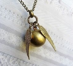 Golden Snitch Necklace  HARRY POTTER The Golden by birdzNbeez, $22.00