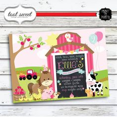 Printable Girly Farm Birthday Invitation Farm by TootSweetDesign