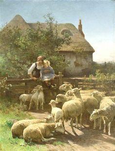 "Canvas art print ""8x10"" by Chialliva- Mother Child Farm   FEEDING THE SHEEP #Vintage"