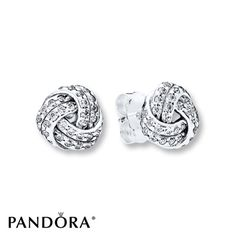 PANDORA Earrings Sparkling Love Knots Sterling Silver