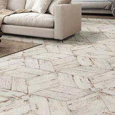 Rama 7 x 17 Porcelain Wood Look Tile in Blanco Wood Tile Floors, Wall And Floor Tiles, Kitchen Flooring, Wall Tiles, Rustic Tile Flooring, Entryway Tile Floor, Wood Look Tile Floor, White Tile Floors, Kitchen With Tile Floor