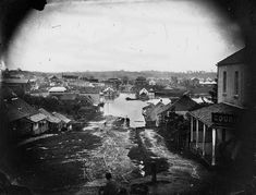 Picture of / about 'Brisbane' Queensland - Charlotte Street, Brisbane, during the 1864 flood Brisbane Cbd, Brisbane Queensland, Queensland Australia, Sunshine State, Sunshine Coast, Gold Coast, Ancestry, Historical Photos, Old Photos