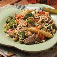 Beef with Ramen Noodles Recipe -I made up this recipe when I was looking for good Chinese food in beautiful Oregon. Each time I make this, I change something slightly. Leftovers heat easily in the microwave or fry pan.