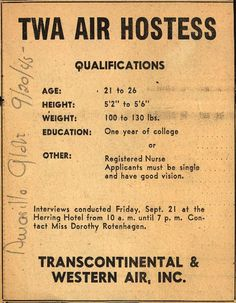 Very strict requirements for flight attendants in the 1940's.