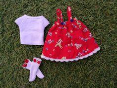 dress pichi dress for blythe, vestido de ciervos pichi para blythe doll