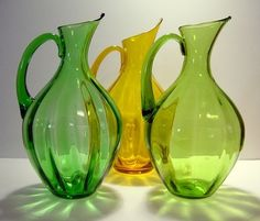 Blenko Art Glass Optic Panel Pitchers ~ Green and Yellow