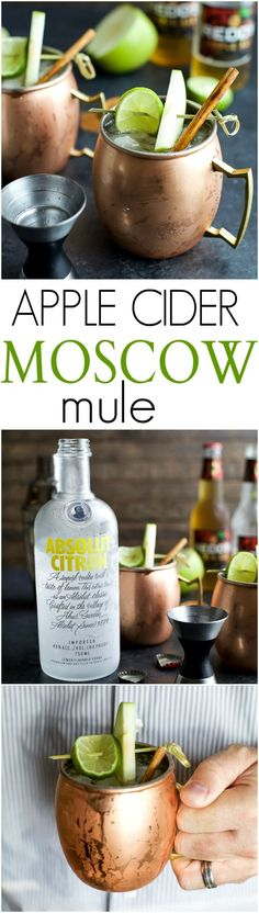 A fun drink for the fall, Apple Cider Moscow Mule, made with hard Apple Cider, Citron Vodka, Ginger Beer, lime juice, and a hint of cinnamon! Easy to make and sure to be a hit! | joyfulhealthyeats...