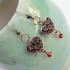 Copper Filigree Heart Earrings, Filigree Flowers, Red Swarovski Crystals, Copper Hearts, Red Crystal, Dangling Hearts, Holiday Gift by AccentsByCat on Etsy