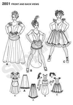 Simplicity Patterns - 2851 -Womens Costumes - American West Saloon Lady Costumes - Dresses, headband, gloves. Andrea Schewe for Simplicity.