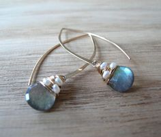 4948c78ee Jewelry · Labradorite and Pearl Hoops by SarahHickeyJewellery on Etsy Black  And Grey, Black Onyx, Beautiful