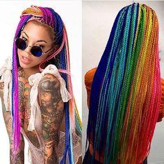 Blackhaiirstyles - curlsbraidsandafros: Rainbow Braids