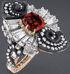 "DIOR. ""Appartements de Mesdames Marqueterie"" ring in yellow, white and pink gold, scorched silver, diamonds and ruby. #DIOR #DIORÀVersailles #DIORJewellery #HighJewelry #FineJewellery #Diamond #Diamant #HauteJoaillerie #Ruby #Rubis"