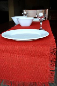 Shop red color Eco home jute table cloth online