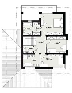 DOM.PL™ - Projekt domu TP Korso CE - DOM TP2-14 - gotowy koszt budowy Minimal House Design, Minimal Home, Beautiful House Plans, Design Case, Home Projects, Planer, Building A House, Architecture Design, New Homes
