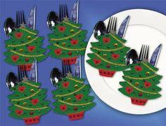 Christmas tree cutlery holders