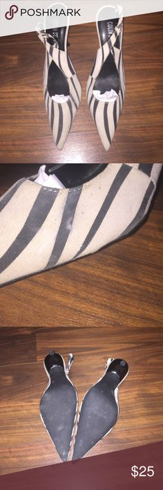 Colin Stuart Worn once size 8 minor scuff shown in pic suede zebra pattern sling back approx 3 in heel Colin Stuart Shoes Heels