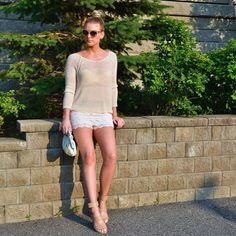 Neutral ootd with crochet shorts