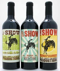 the show - woodblock wine labels