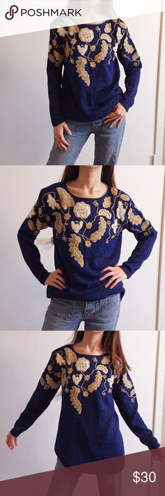 "Vintage embroidered metallic blue sweater. Vintage embroidered metallic blue sweater. Size: M. Length: 26.5"". Width: 18"". In excellent condition. Vintage Sweaters"