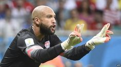 US goalkeeper Tim Howard reacts during a Round of 16 football match between Belgium and USA at Fonte Nova Arena in Salvador during the 2014 ... http://www.bbc.com/news/world-us-canada-28122254